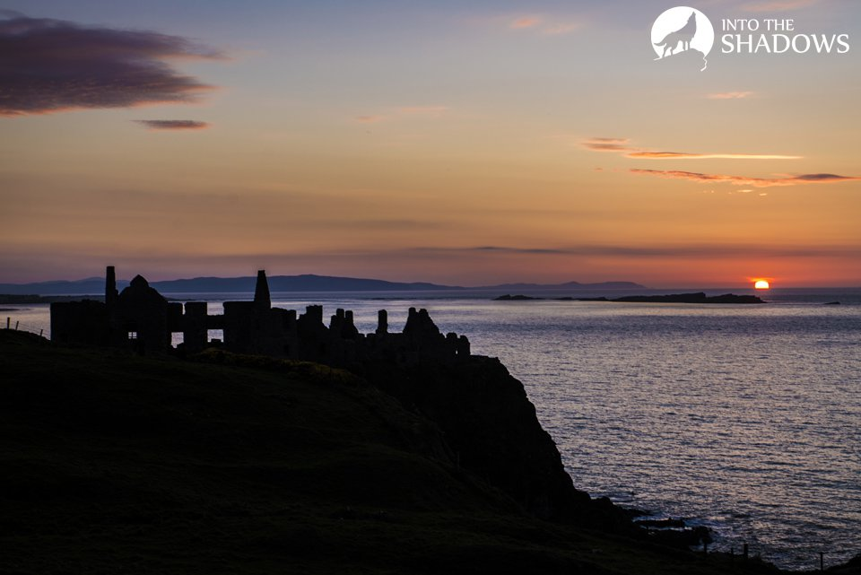 Sunset over Dunluce castle: The castle was built in the XIII century, Richard specifically inform staff of de Burgh, and the first written information about the castle appeared in 1513. The photo was taken at sunset.