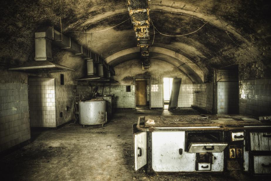 The Fortress Of Modlin: Kitchen in an abandoned military casino, situated in the old fortress of Modlin. It is located in the military barracks, which are the longest building in Europe and second on this indicator in the world. This area is not from tourists.
