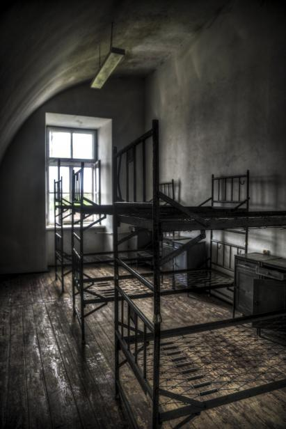 The Fortress Of Modlin: In the photo one of the rooms that once belonged to the school of the air force of the Polish army, located in the old Modlin fortress, located in Mazovian Voivodeship in the vicinity of the New Yard and Warsaw Modlin airport.