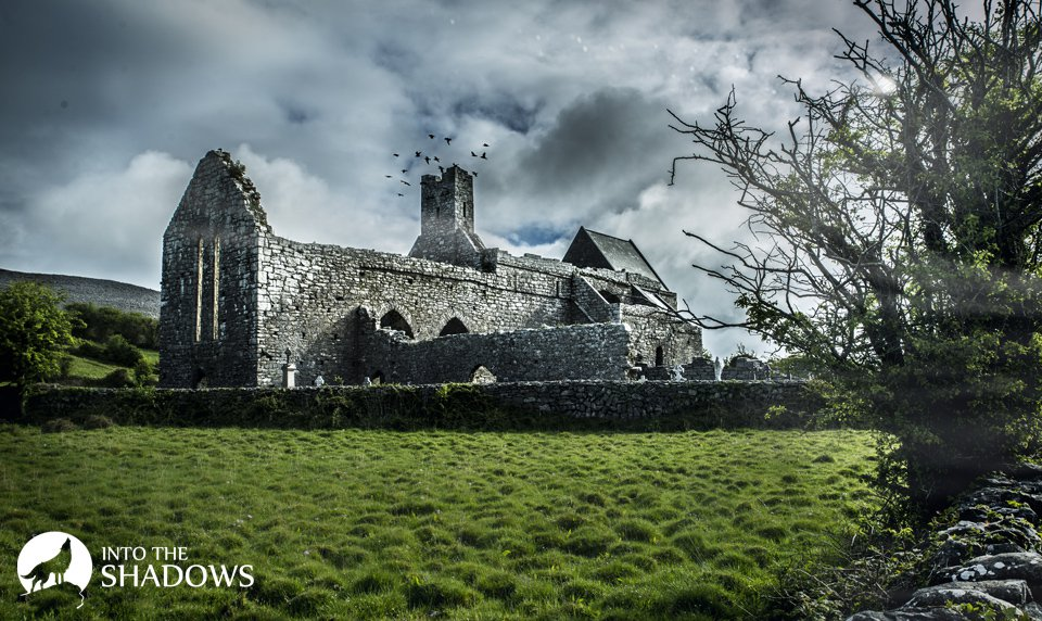 View of the monastery: Built in the XIII the Cistercian Abbey, located in the Northern part of the Burren region in County Clare.
